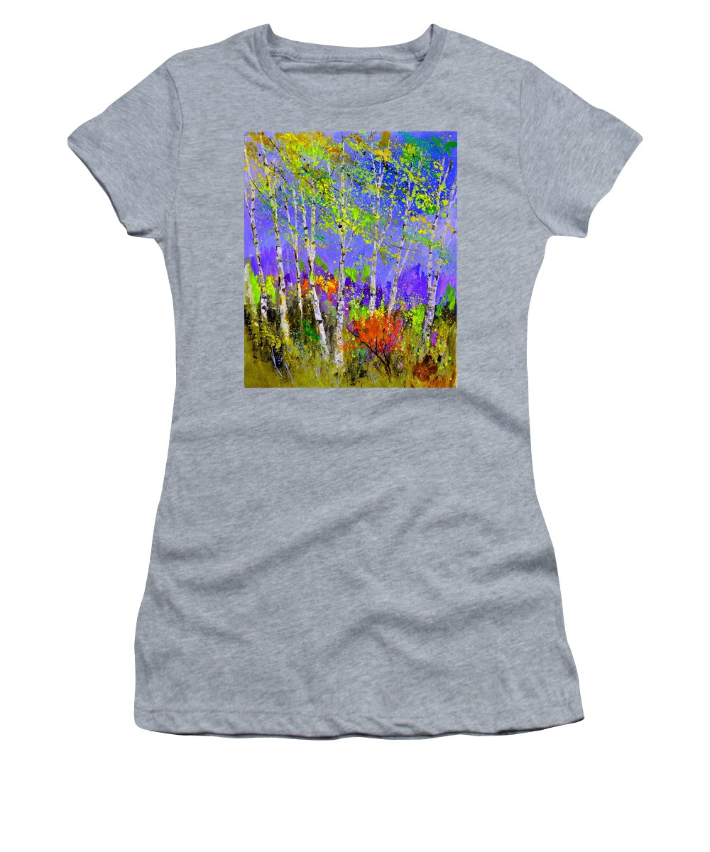 Landscape Women's T-Shirt featuring the painting Birchtrees 56412 by Pol Ledent