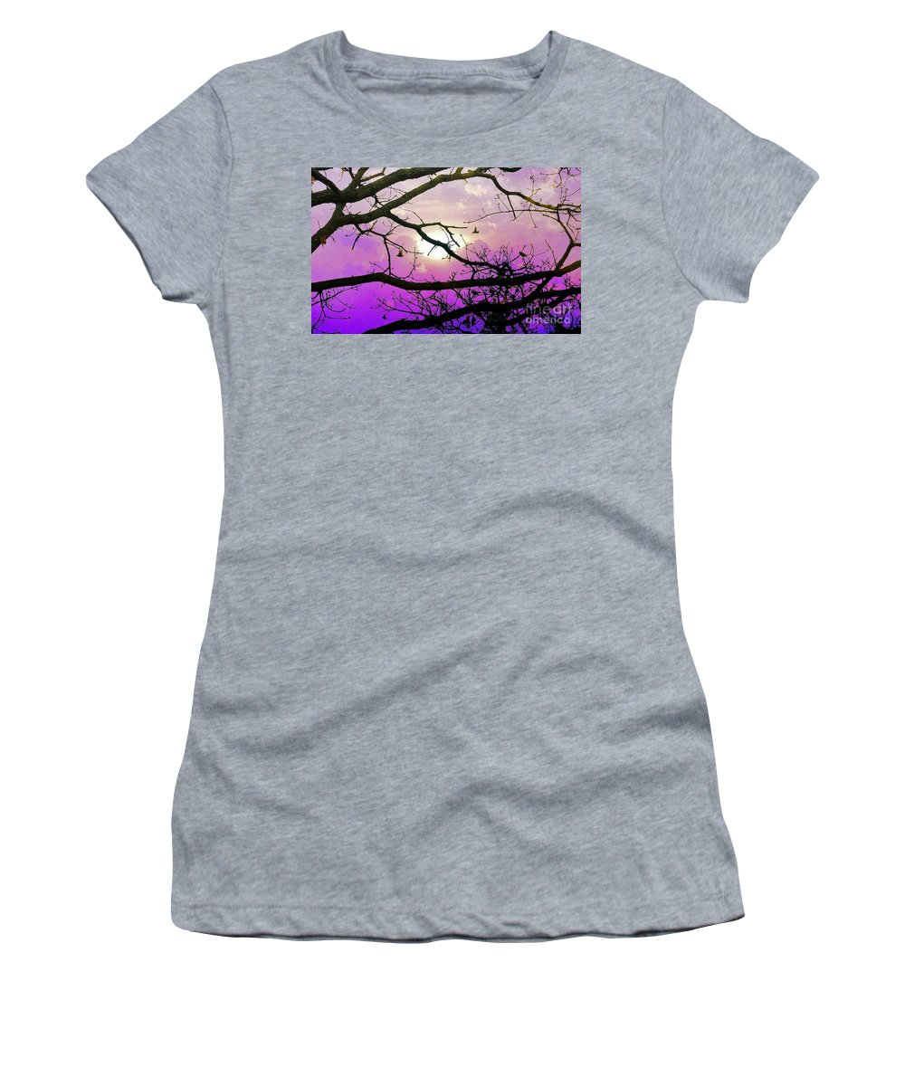 Trees Women's T-Shirt (Athletic Fit) featuring the photograph Birds Roosting For Night by Janette Boyd