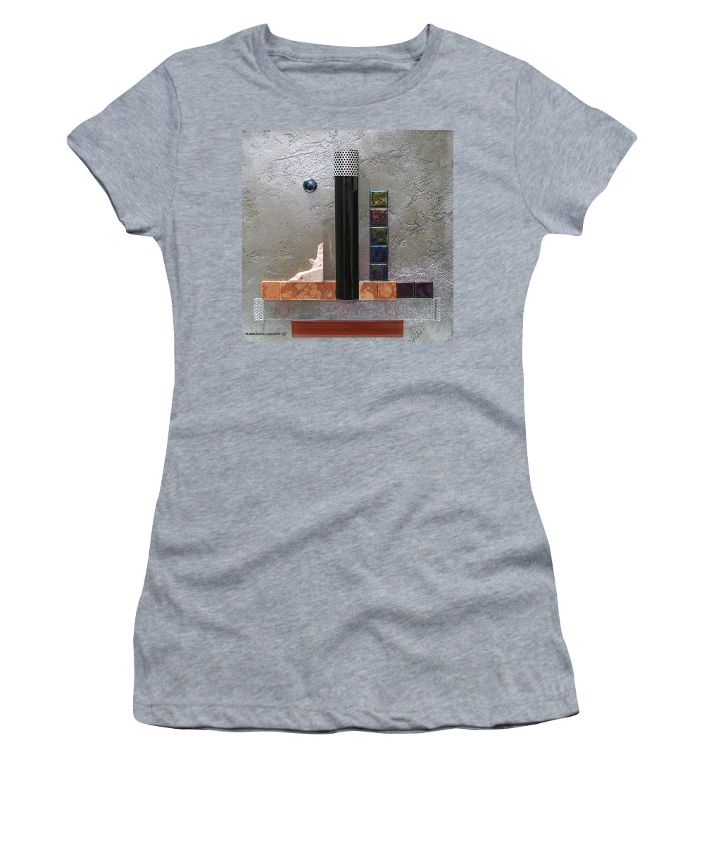 Assemblage Women's T-Shirt featuring the relief Black Tower by Elaine Booth-Kallweit