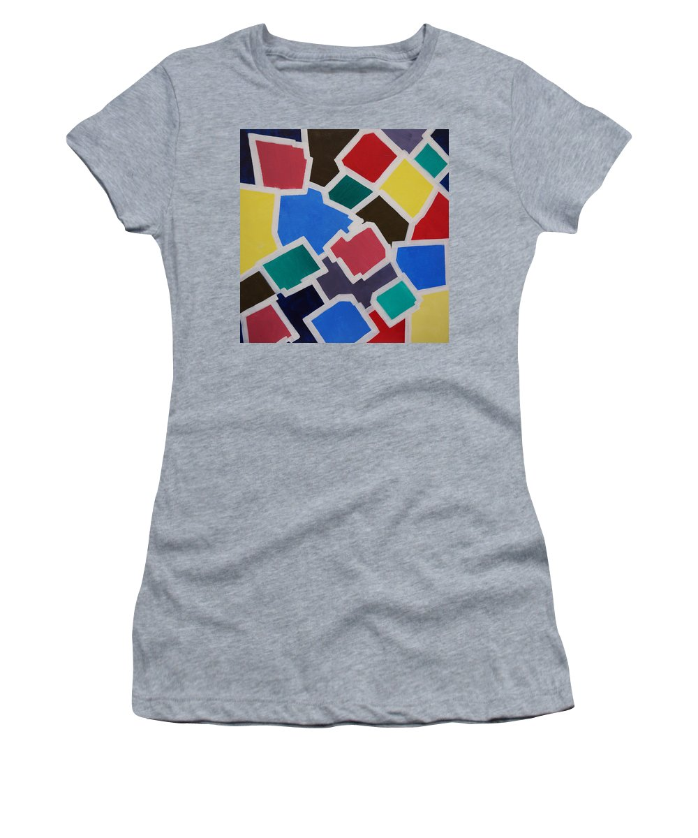 Acrylic Women's T-Shirt featuring the painting Outside the Box by Sergey Bezhinets