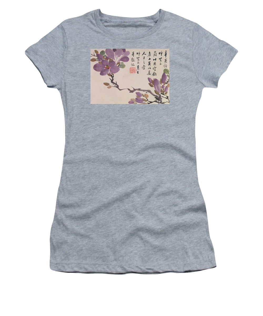 Flower Women's T-Shirt featuring the painting Blossoms by Chen Hongshou