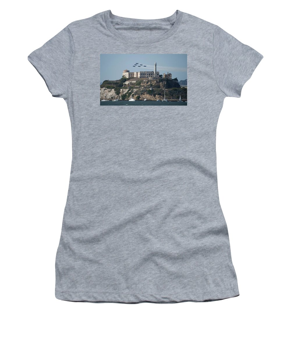 Navy Women's T-Shirt (Athletic Fit) featuring the photograph Blue Angels Over Alcatraz by Mountain Dreams