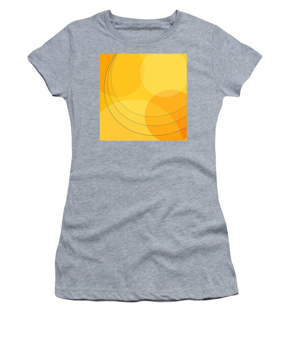 Abstract Women's T-Shirt featuring the digital art Blue Arcs Through Orange Landscape by James Kramer