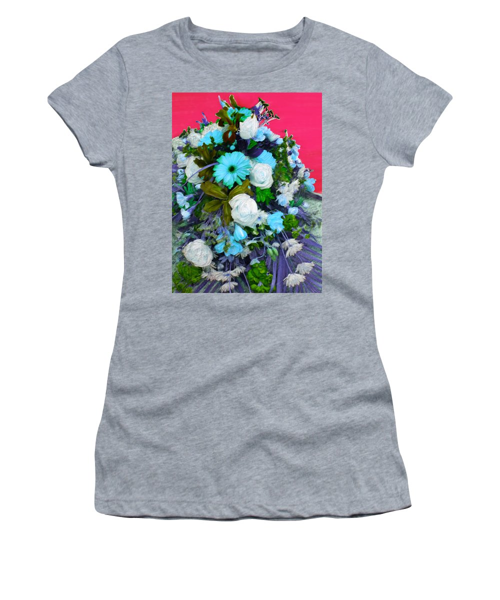 Flowers Women's T-Shirt featuring the painting Blue Bouquet by Bruce Nutting