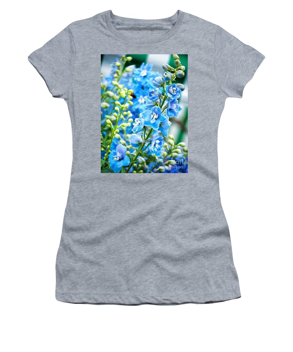 Natural Women's T-Shirt (Athletic Fit) featuring the photograph Blue Flowers by Antony McAulay