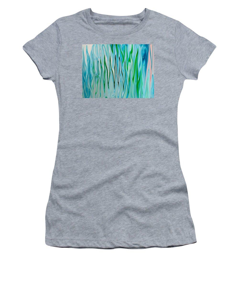 Blue Women's T-Shirt featuring the digital art Blue Green Flames by Tera Michaels