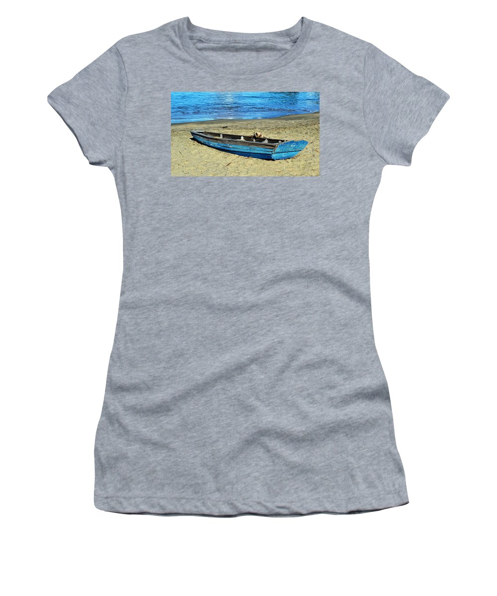 Deserted Women's T-Shirt featuring the photograph Blue Rowboat by Holly Blunkall