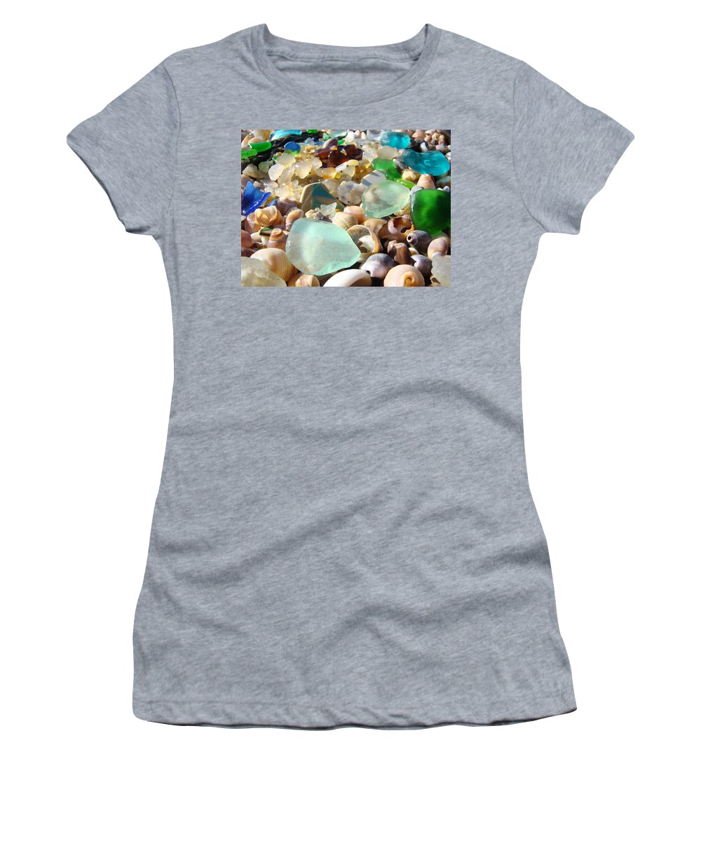 Seaglass Women's T-Shirt (Athletic Fit) featuring the photograph Blue Seaglass Beach Art Prints Shells Agates by Baslee Troutman