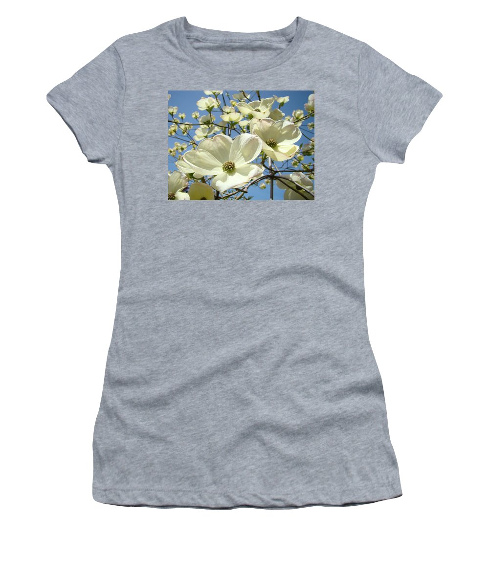 Blue Women's T-Shirt featuring the photograph Blue Sky Spring White Dogwood Flowers Art Prints by Baslee Troutman