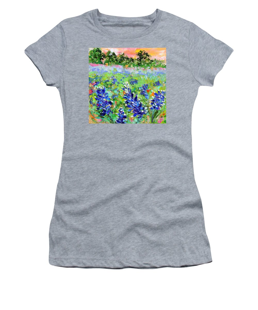 This Original Oil Painting Is Sold But Is Now Available In Print. Painted In Oil And Palette Knife In Rich Golds Women's T-Shirt featuring the painting Bluebonnet Sunrise by Karen Tarlton
