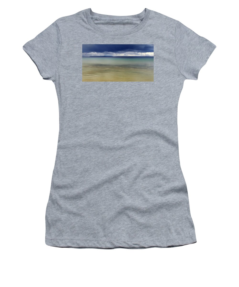 Mackinac Island Women's T-Shirt (Athletic Fit) featuring the photograph Beautiful Blues Over Mackinac Island by Marysue Ryan