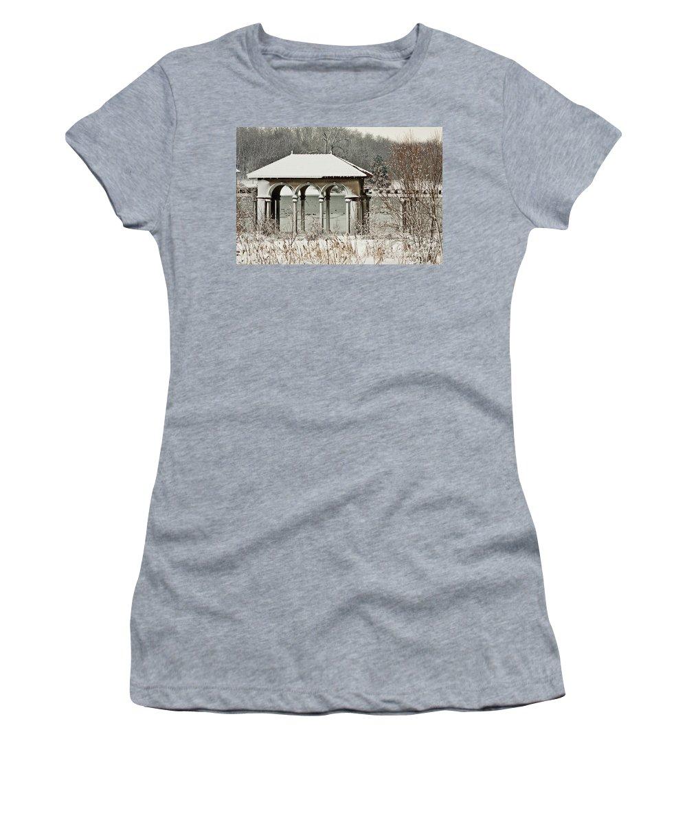 Snow Photos Women's T-Shirt featuring the photograph Boathouse Pavilion by Terri Morris