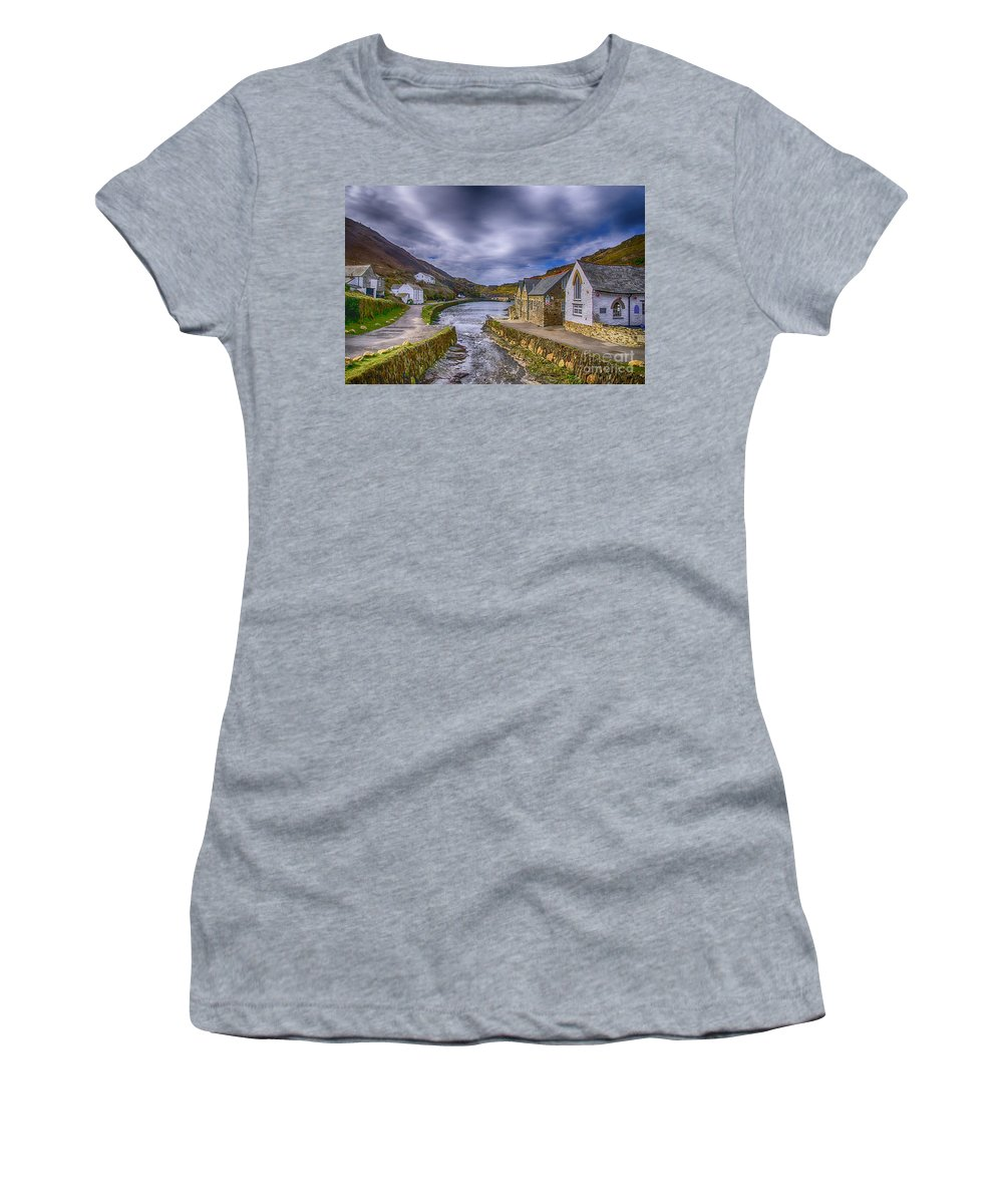 Boscastle Harbour Women's T-Shirt (Athletic Fit) featuring the photograph Boscastle Harbour by Chris Thaxter
