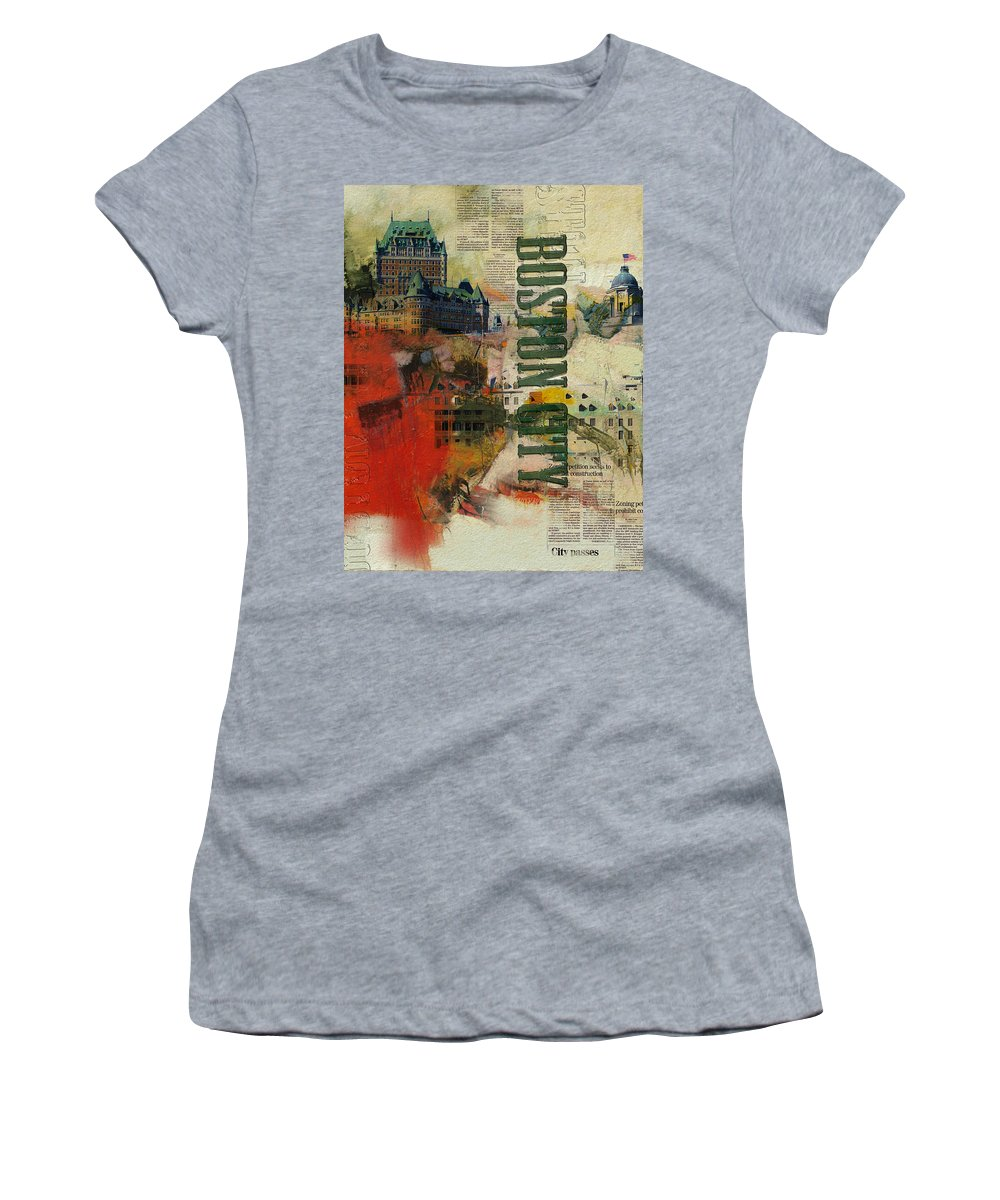 Boston City Women's T-Shirt featuring the painting Boston Collage by Corporate Art Task Force