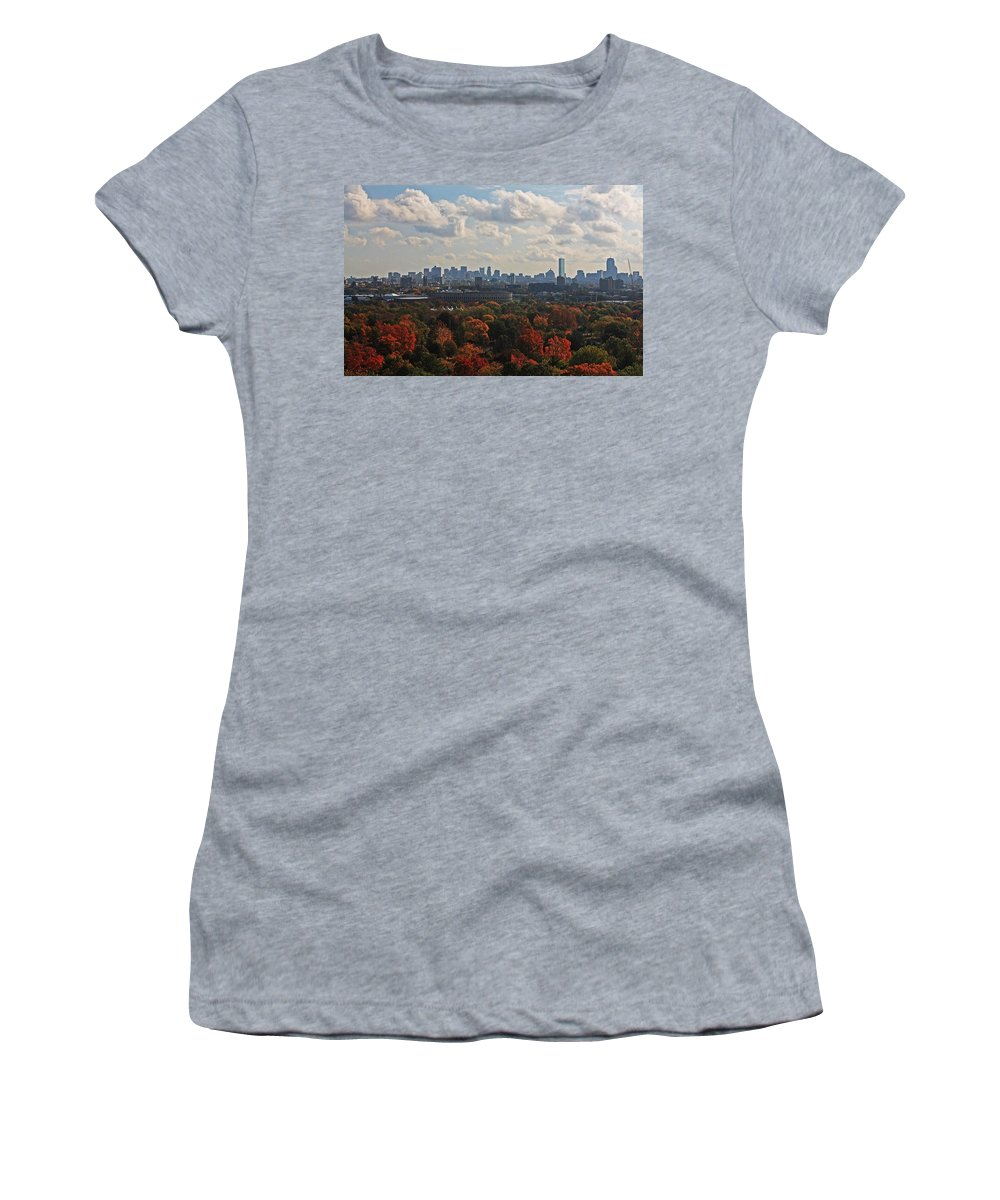 Mt Auburn Cemetery Women's T-Shirt featuring the photograph Boston Skyline View From Mt Auburn Cemetery by Michael Saunders