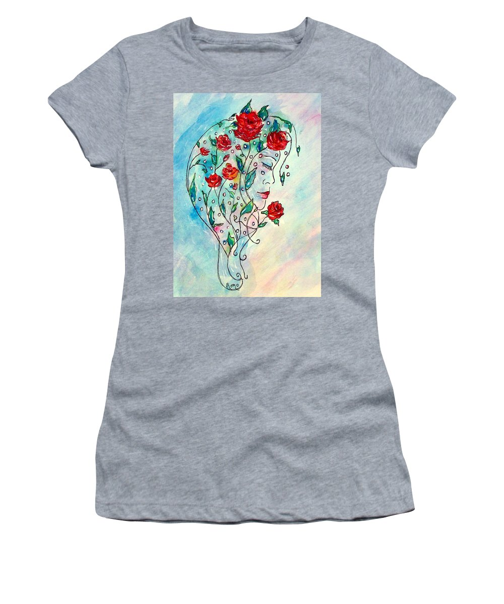 Bouquet Women's T-Shirt (Athletic Fit) featuring the painting Bouquet Of Love by Robin Monroe