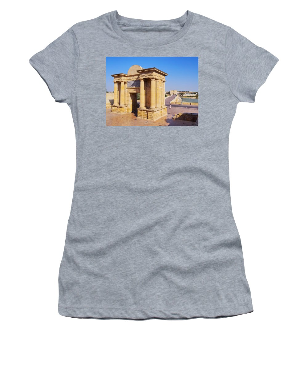 Horizontal Women's T-Shirt featuring the photograph Bridge Gate In Cordoba by Karol Kozlowski