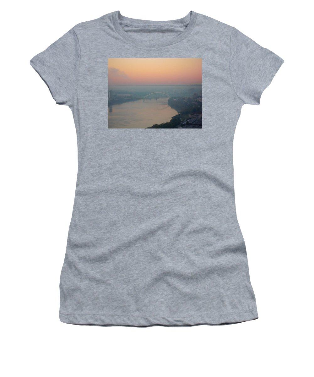 Ohio River Women's T-Shirt featuring the photograph Bridge Over The Ohio by Ellen Meakin