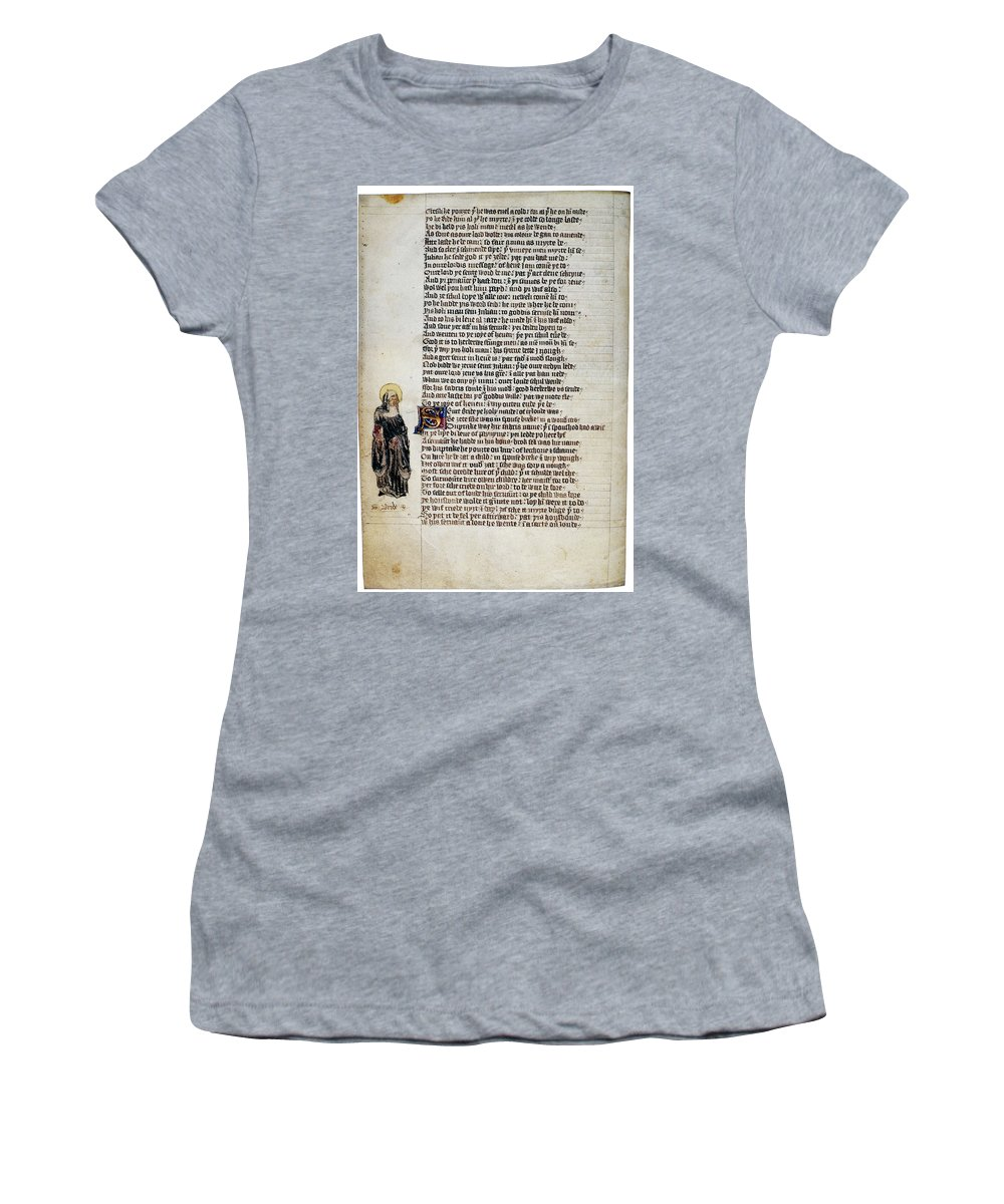 15th Century Women's T-Shirt (Athletic Fit) featuring the painting Brigit Of Kildare (d by Granger