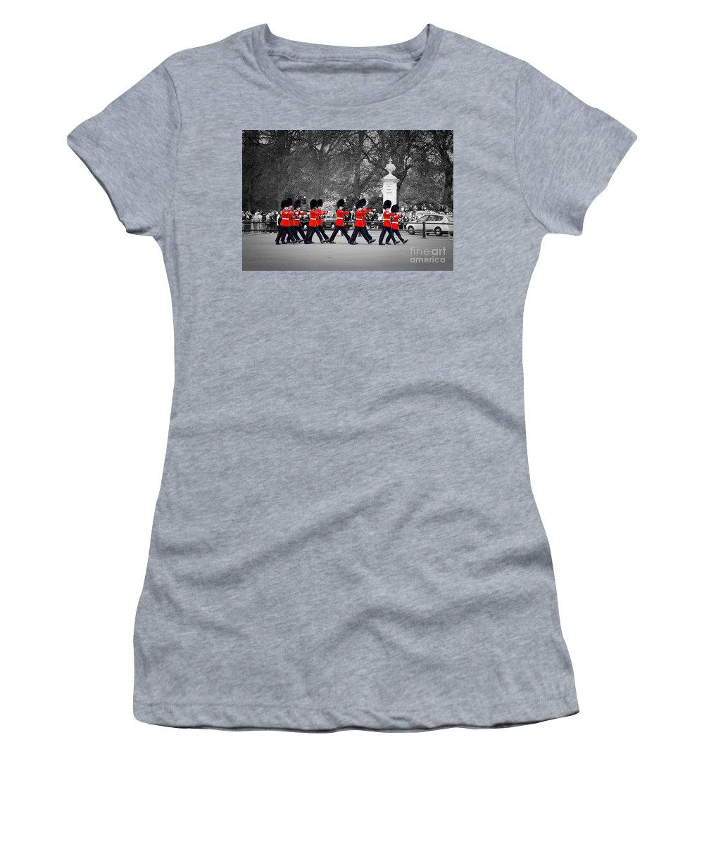 London Women's T-Shirt featuring the photograph British Royal Guards March And Perform The Changing Of The Guard In Buckingham Palace by Michal Bednarek