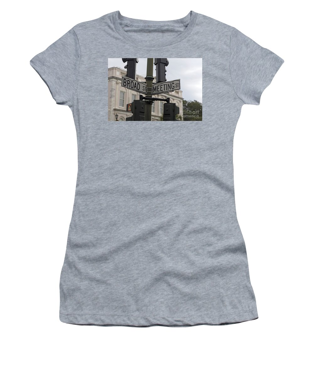 Broad Street Women's T-Shirt (Athletic Fit) featuring the photograph Broad Street And Meeting Street Charleston South Carolina by Jason O Watson