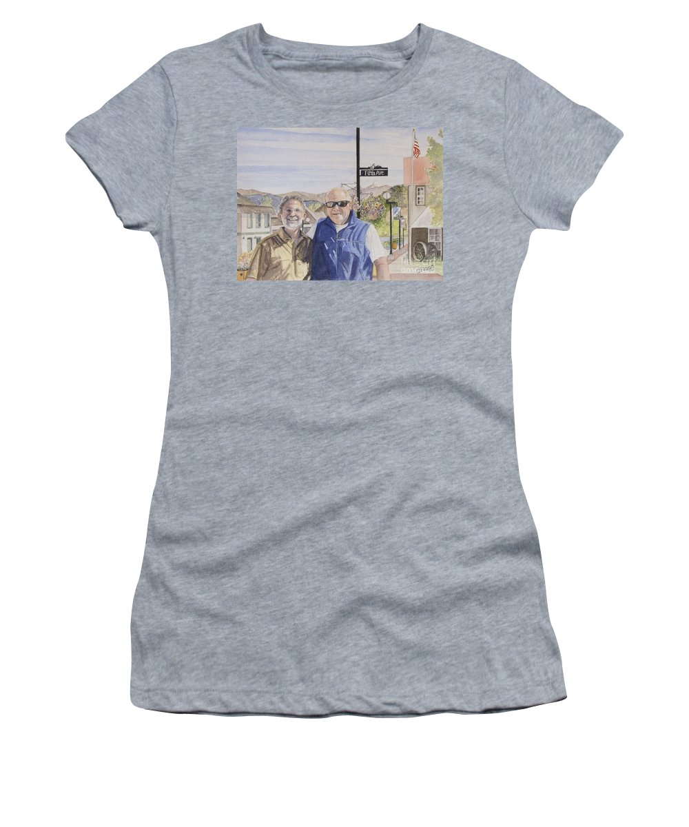 Watercolor Women's T-Shirt featuring the painting Bros by Carol Flagg