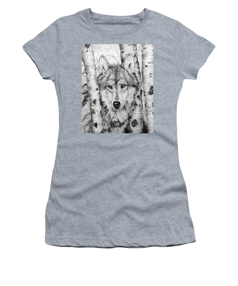 Wolf Women's T-Shirt (Athletic Fit) featuring the painting Brother Wolf by Donna Hillman Walsh