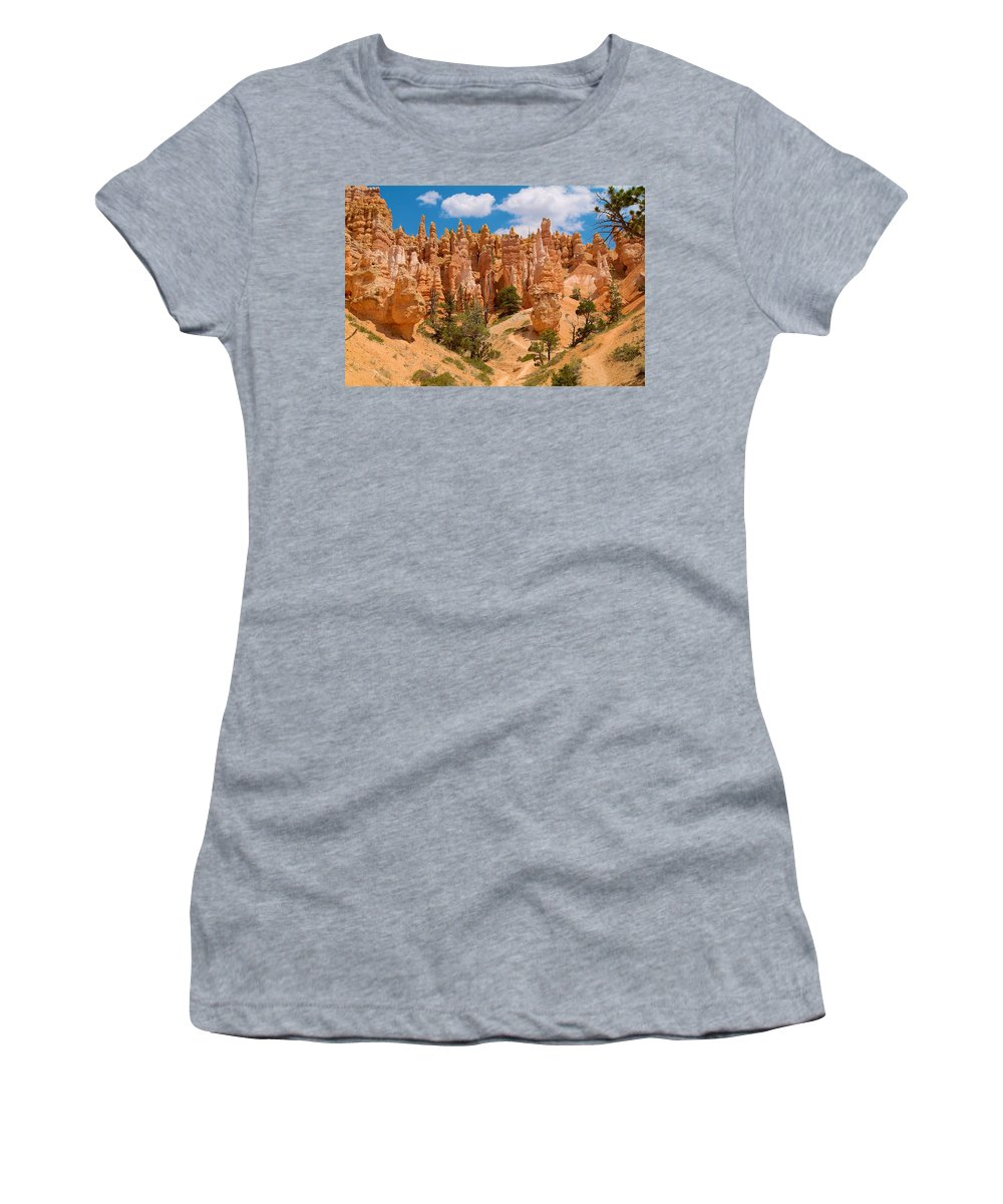 Bryce Canyon Women's T-Shirt featuring the photograph Bryce Canyon Spirals 2 by Richard J Cassato