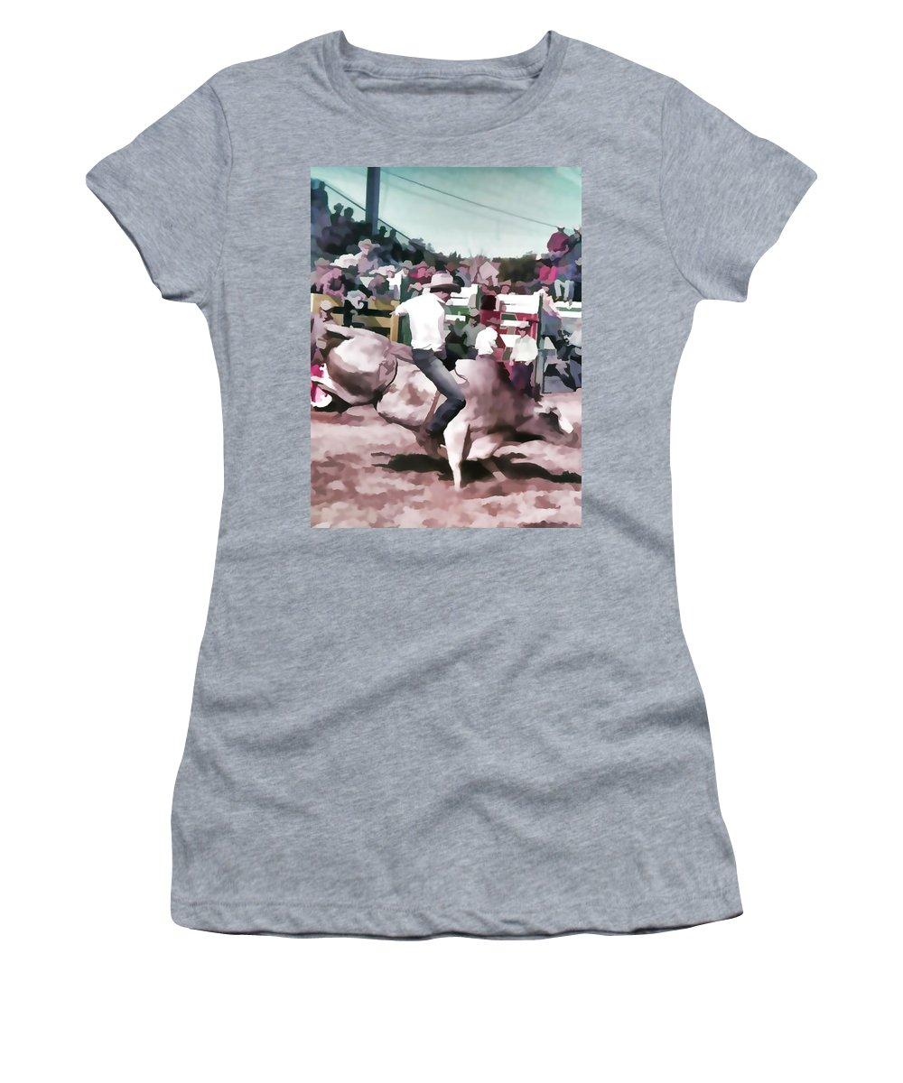 Bull Rider Women's T-Shirt featuring the photograph Bull Rider Digital Art By Cathy Anderson by Cathy Anderson