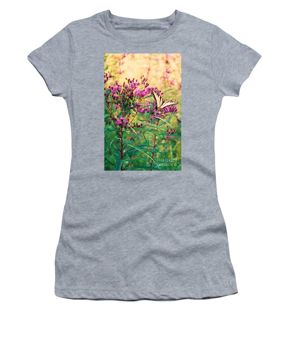 Floral Women's T-Shirt (Athletic Fit) featuring the painting Butterfly Wildflower by Eric Schiabor