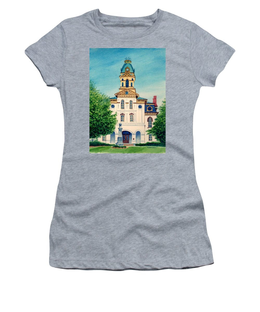 Cabarrus County Women's T-Shirt featuring the painting Cabarrus County Courthouse by Stacy C Bottoms