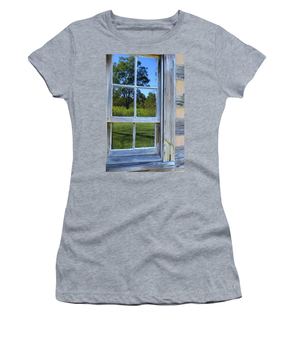 Cabin Photos Women's T-Shirt (Athletic Fit) featuring the photograph Cabin Reflections by Larry Bishop