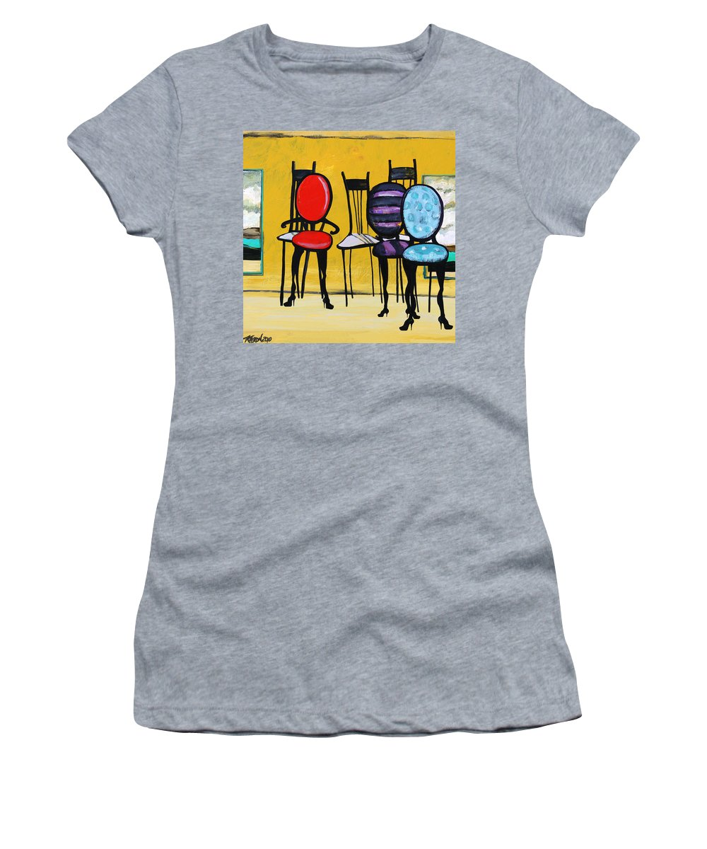 Chairs Painting Women's T-Shirt (Athletic Fit) featuring the painting Cafe Chairs by Karon Melillo DeVega