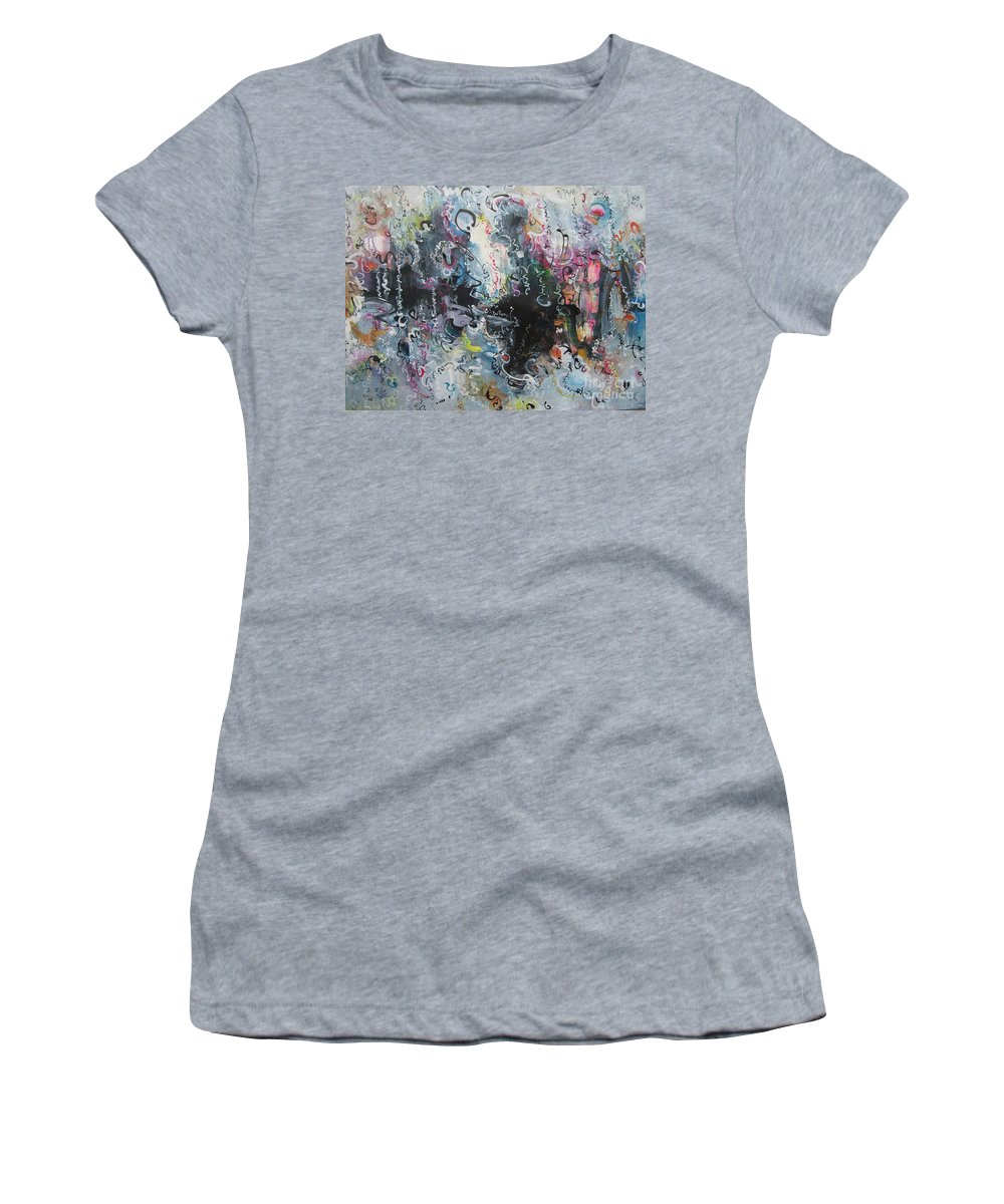 Calligraphy Art Women's T-Shirt (Athletic Fit) featuring the painting Calligraphy Abstract Spring Color Art by Seon-Jeong Kim