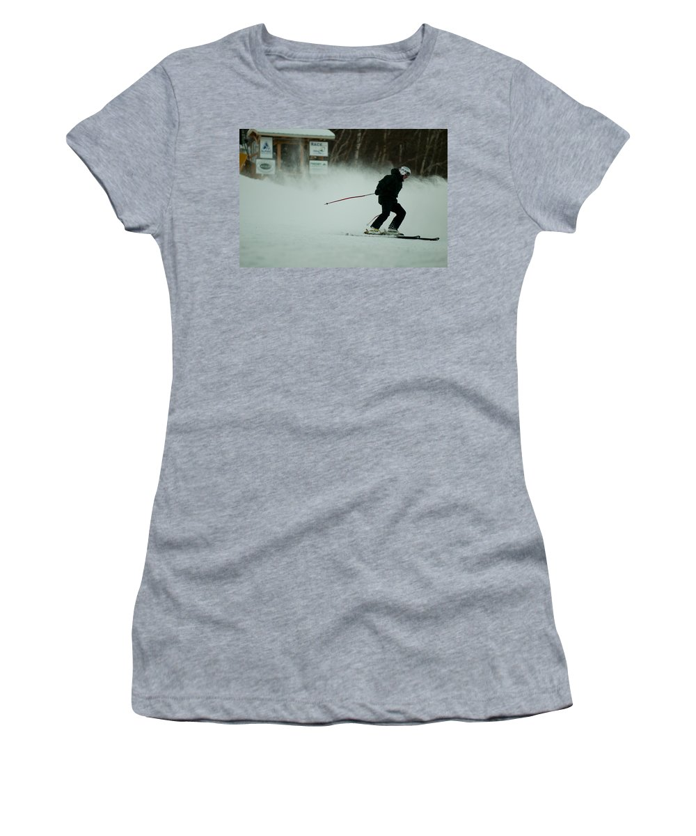 """nashua Sprint Y-triathlon"" Women's T-Shirt featuring the photograph Cannon Run 1d by Paul Mangold"
