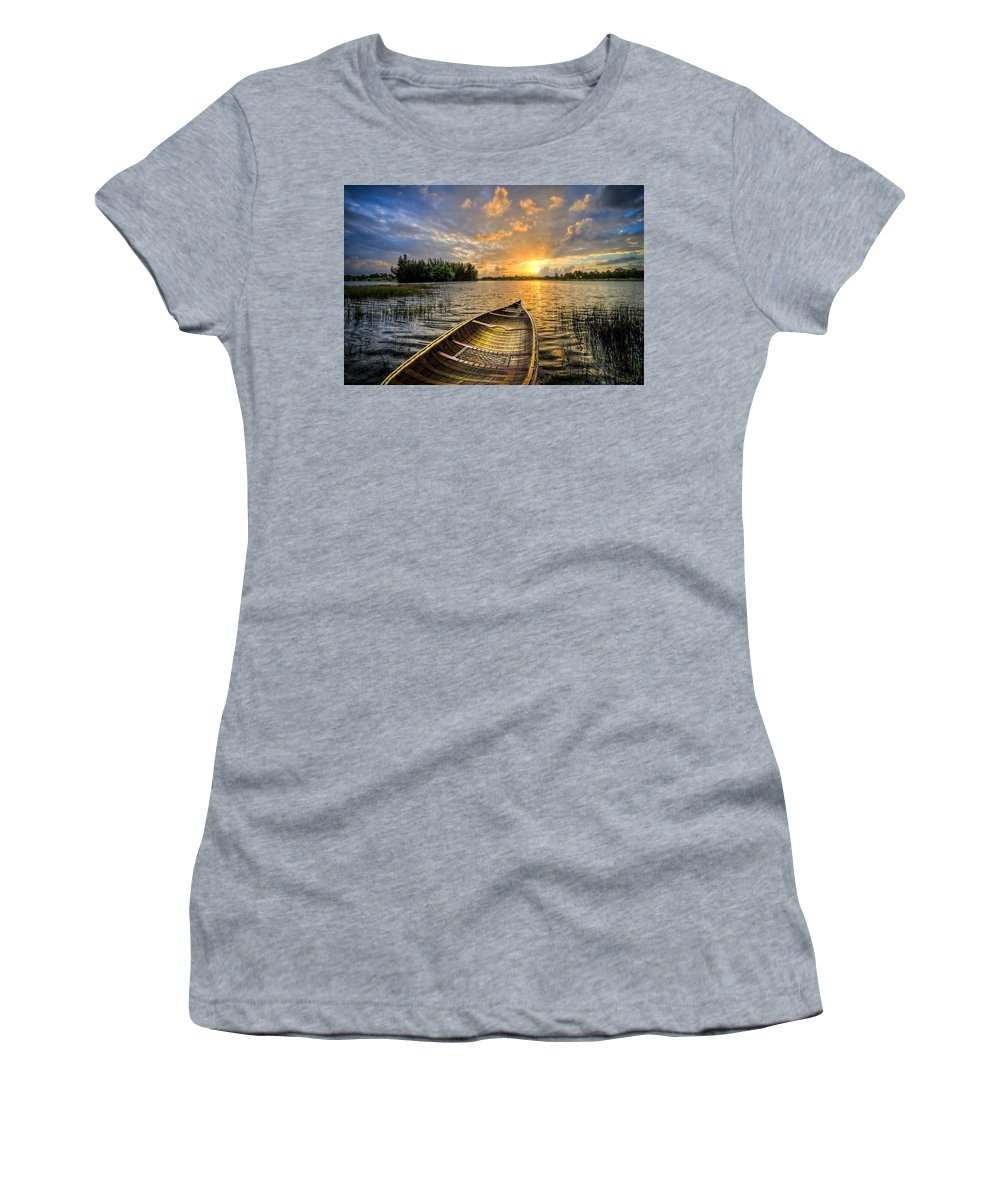 Boats Women's T-Shirt featuring the photograph Canoeing At Sunrise by Debra and Dave Vanderlaan