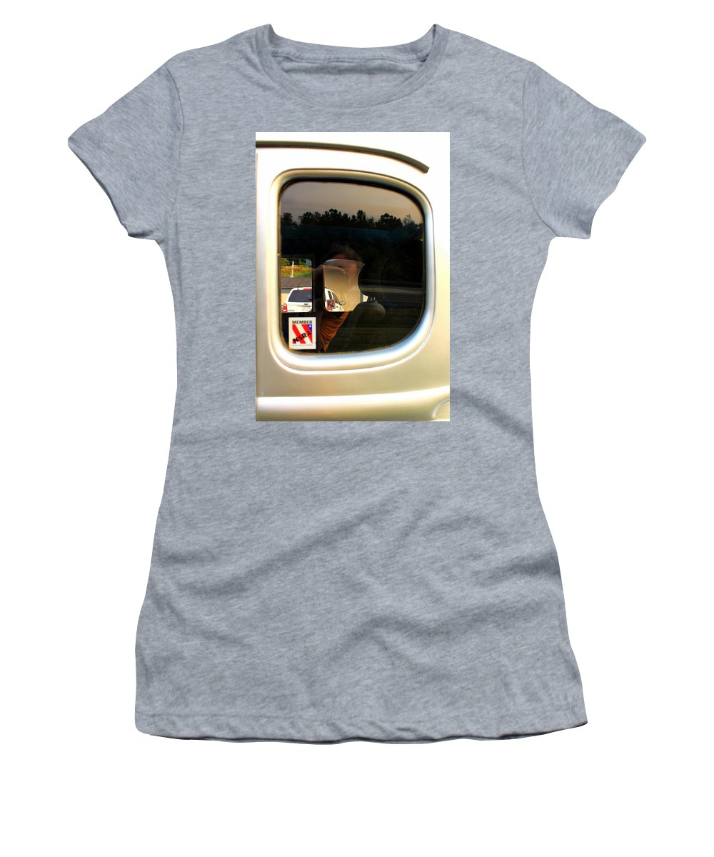 Cars Women's T-Shirt (Athletic Fit) featuring the photograph Car Window Reflection by Karl Rose