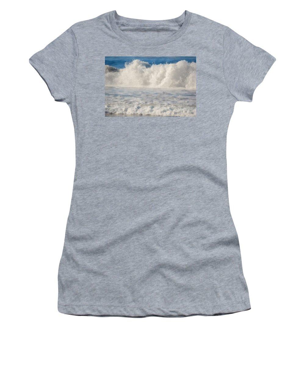 Carmel California Beach Women's T-Shirt featuring the digital art Carmel By The Sea California Beach by Barbara Snyder