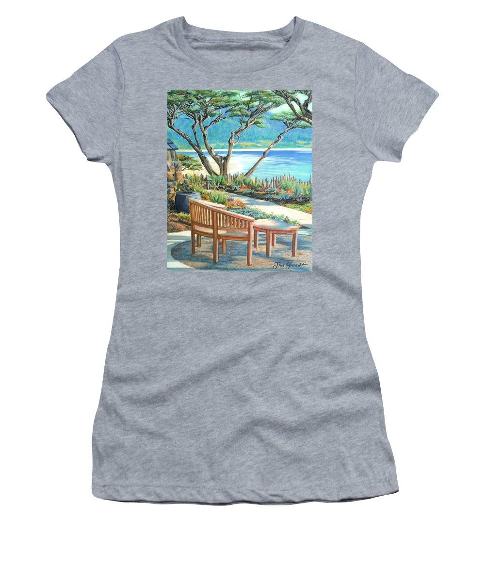 Carmel Women's T-Shirt featuring the painting Carmel Lagoon View by Jane Girardot