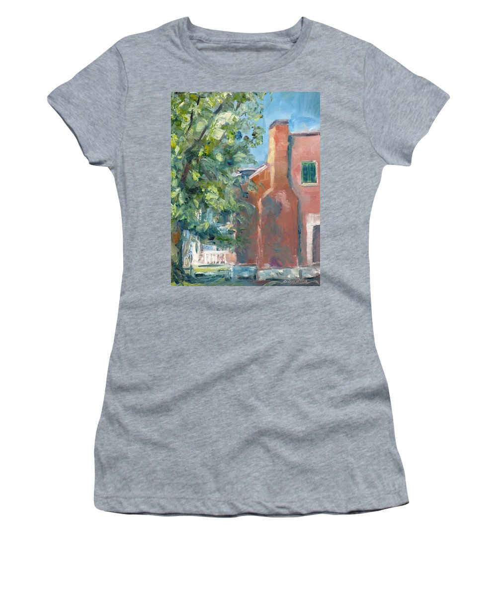 Carnton Women's T-Shirt featuring the painting Carnton Plantation On A Spring Morning by Susan Elizabeth Jones