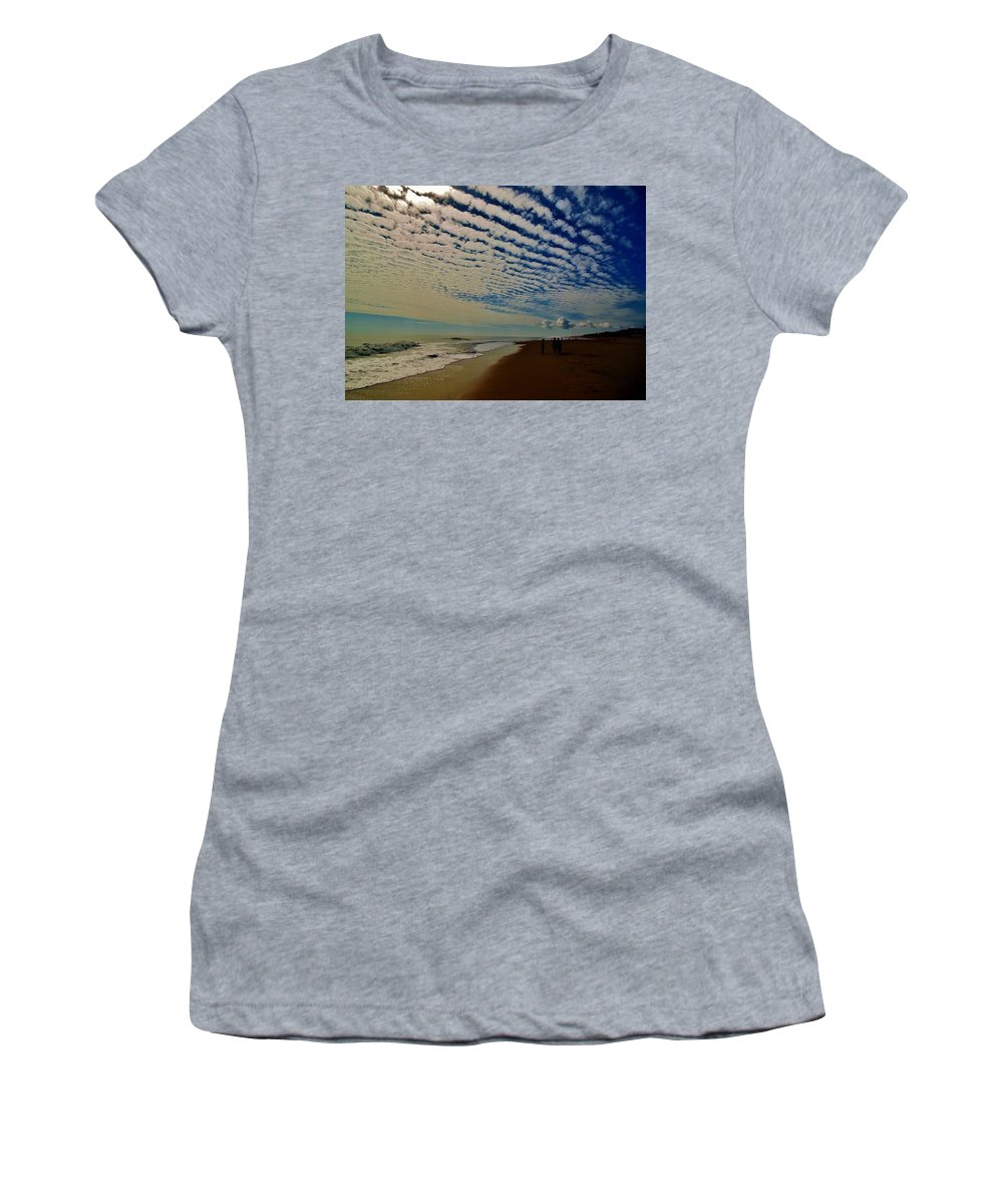 Mark Lemmon Cape Hatteras Nc The Outer Banks Photographer Subjects From Sunrise Women's T-Shirt (Athletic Fit) featuring the photograph Carolina Blue Sky And Pier 10 10/17 by Mark Lemmon