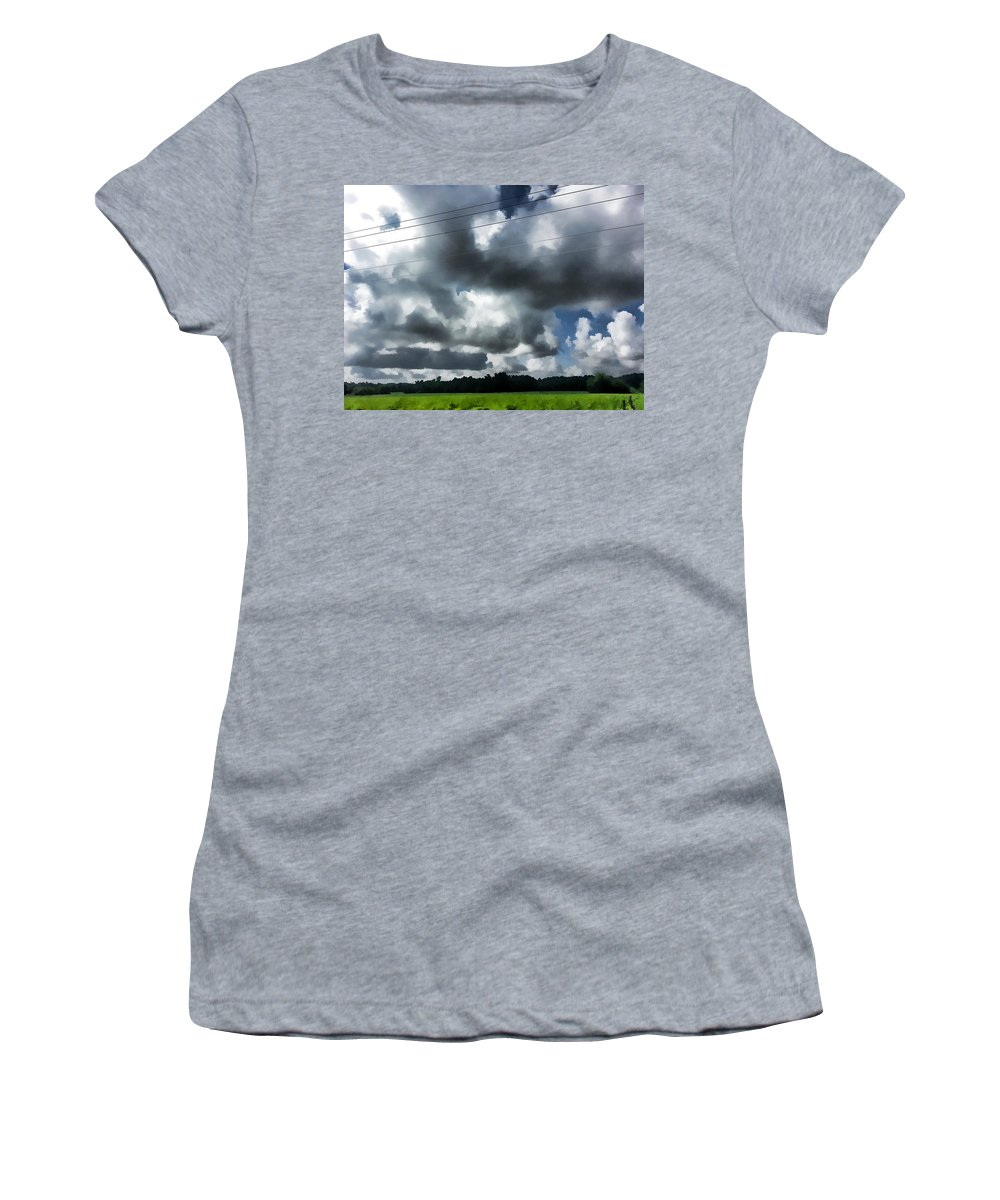 Digital Women's T-Shirt featuring the photograph Carolina Clouds by Paulette B Wright