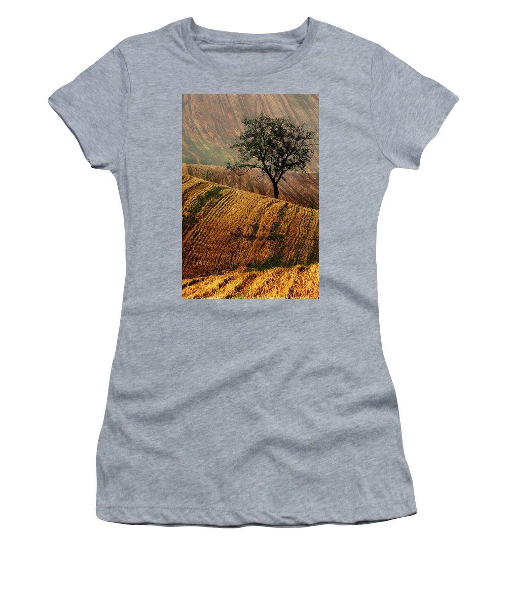 Landscape Women's T-Shirt featuring the photograph Carpet Fields Of Moravia by Jaroslaw Blaminsky