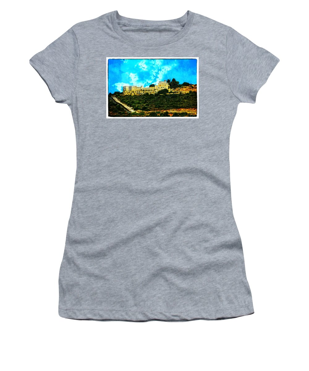 Castle In The Hot Summer Sun Women's T-Shirt (Athletic Fit) featuring the photograph Castle In The Hot Summer Sun by Mary Machare