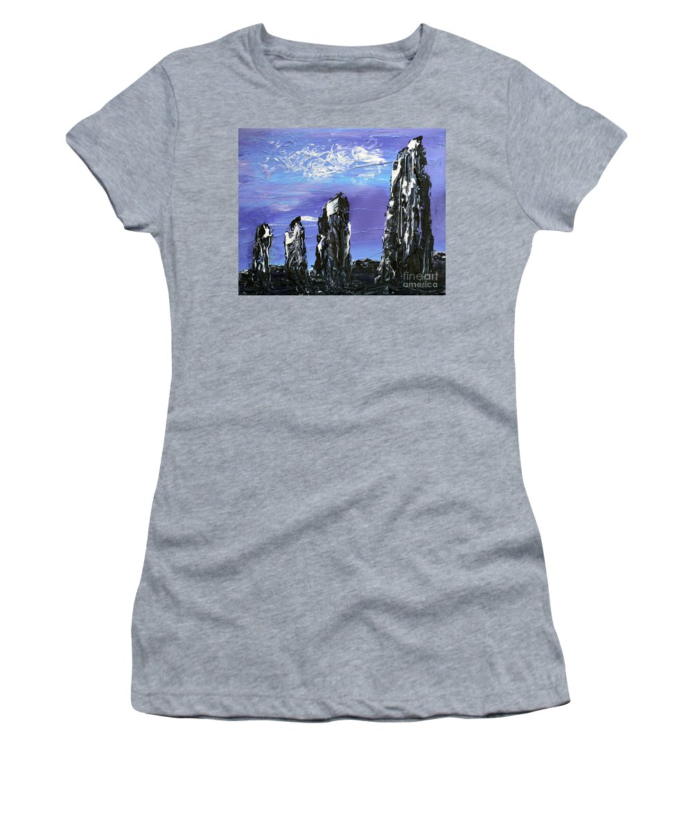 Castlenalact Women's T-Shirt (Athletic Fit) featuring the painting Castlenalact Standing Stones by Alys Caviness-Gober