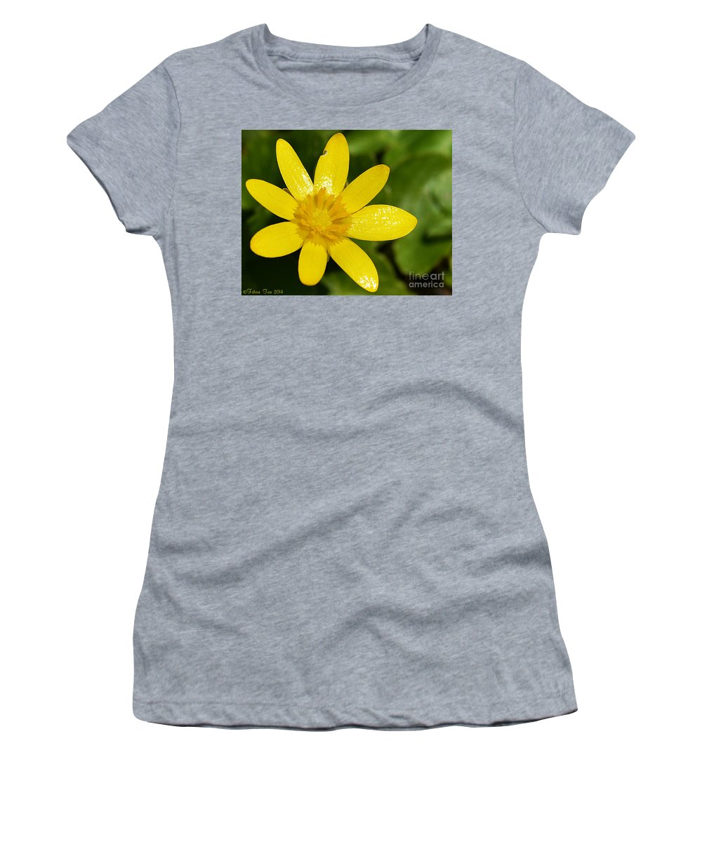 Yellow Women's T-Shirt featuring the photograph Celandine by Felicia Tica