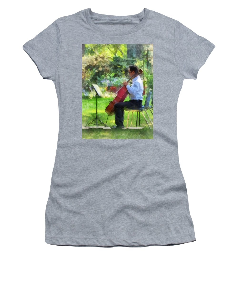 Cello Women's T-Shirt featuring the photograph Cellist In The Garden by Susan Savad