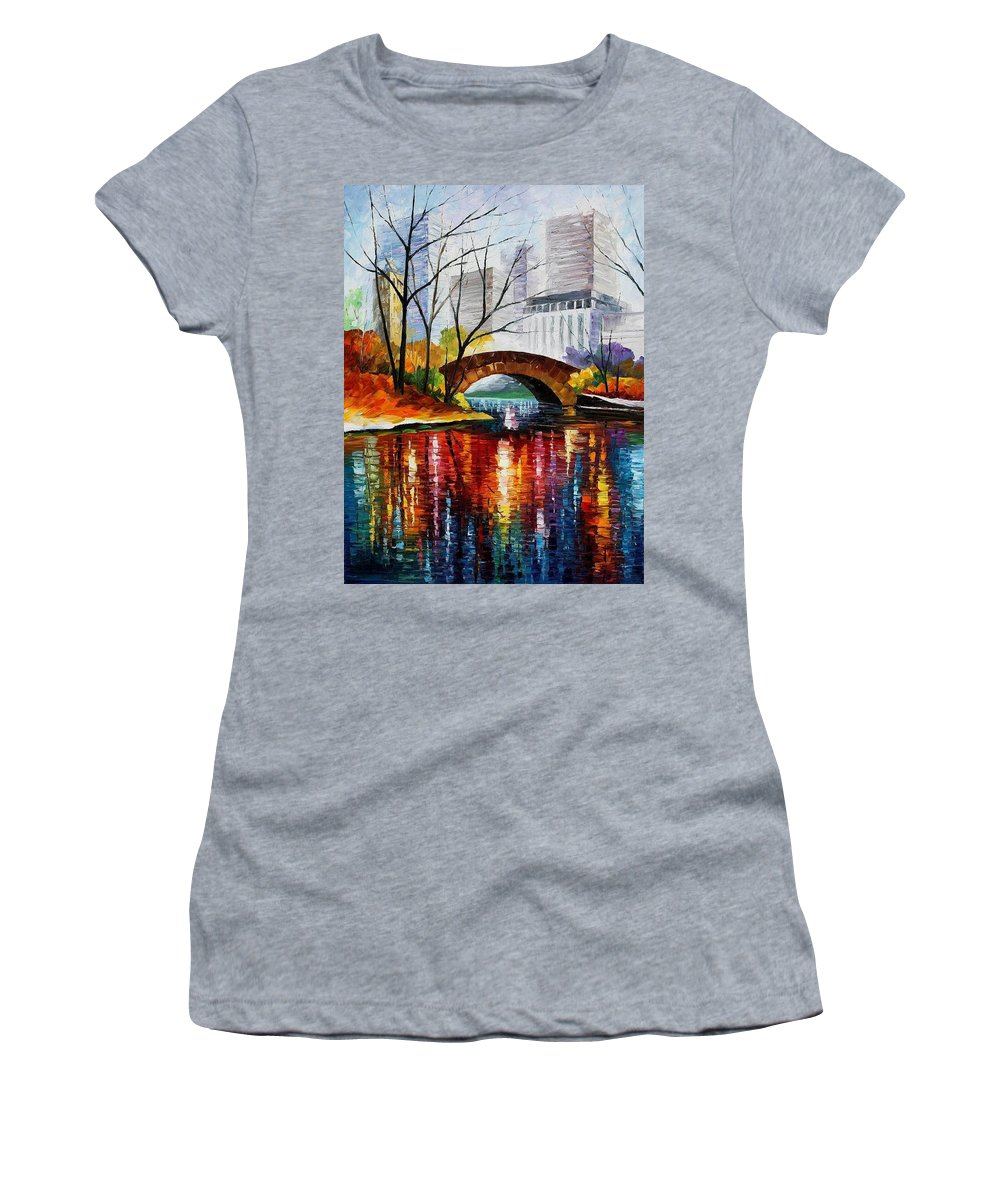 Oil Paintings Women's T-Shirt featuring the painting Central Park - Palette Knife Oil Painting On Canvas By Leonid Afremov by Leonid Afremov