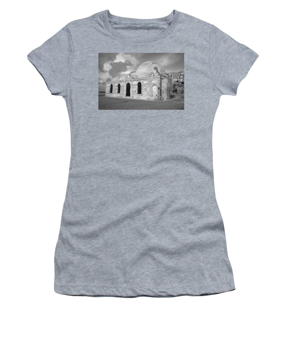 Chania Women's T-Shirt featuring the photograph Chania Mosque Crete Black And White by Jeremy Voisey