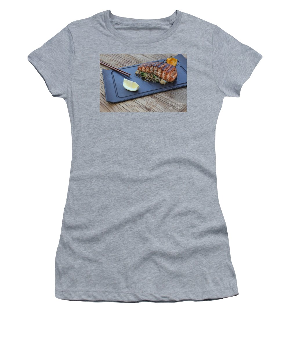 Japanese Food Women's T-Shirt featuring the photograph Char Grilled Salmon by Oren Shalev